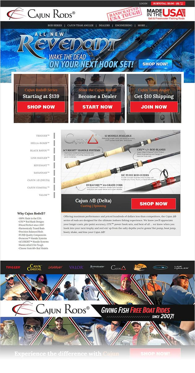 Cajun Custom Rods New Responsive Website - AnoLogix