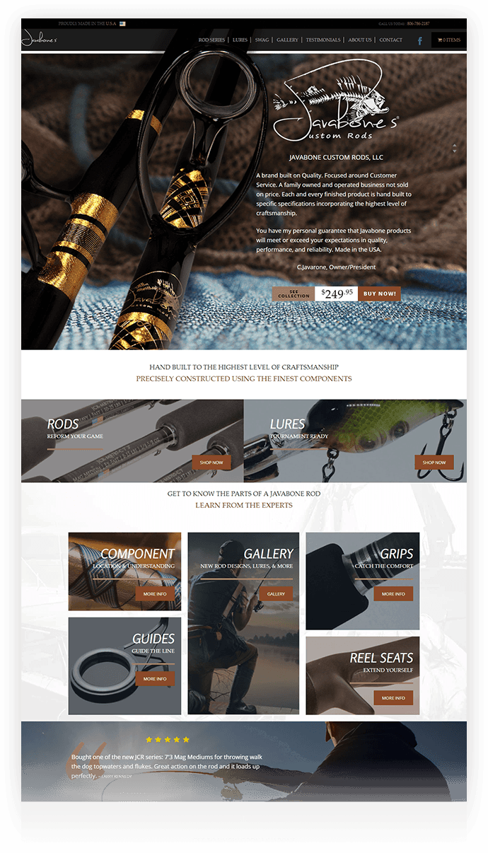 Javabone Rods Website Design