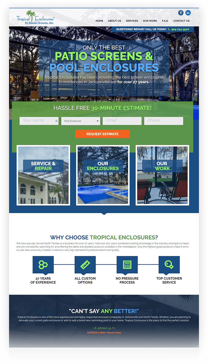 Tropical Enclosures Website Design