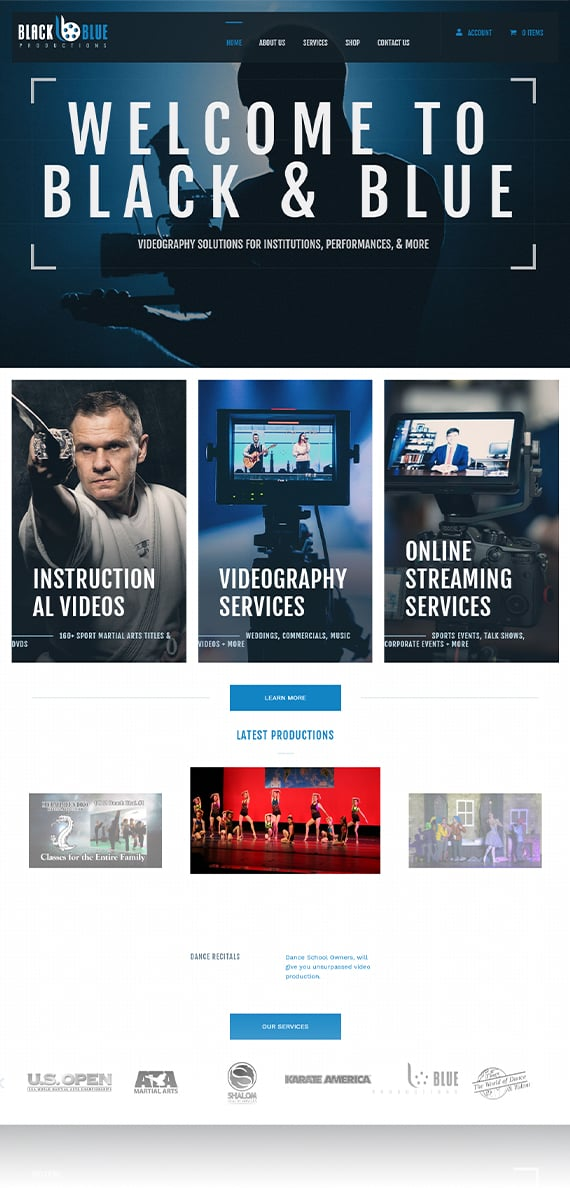 Black and Blue Productions - AnoLogix Featured Website - 2
